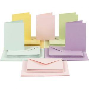 Ihanat pastellinväriset kortit ja kirjekuoret, 50 kpl.