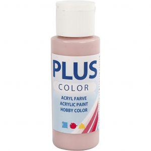 Askartelumaali, Akryylimaali, Dusty Rose. Huurrettu Vaaleanpunainen, 60 ml Plus Color