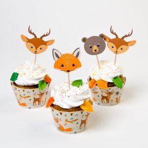 Cupcake-setti, Metsäneläimet, 6 kpl. Kettu, kauris, karhu.