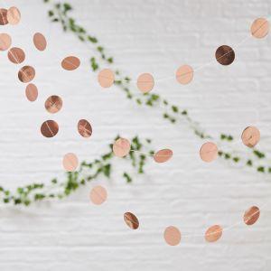 Ihana ruusukultainen konfetti-viiri, 5m.