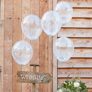 Valkoiset konfetti-ilmapallot, 5 kpl.