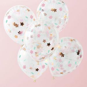 Ihanat ilmapallot joilla on kukanmuotoiset konfetit, 5 kpl.