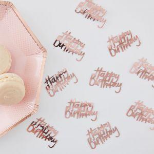 Ruusukullanväriset Happy Birthday-konfetit.