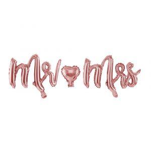 Ruusukullanvärinen foliopallo joka koostuu kolmesta irrallisista osista: Mr,