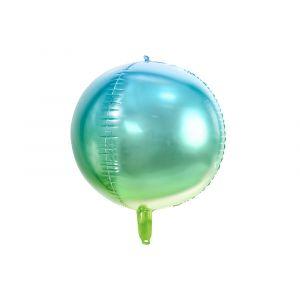 Pyöreä foliopallo, vihreä-sininen, halkaisija 35 cm.