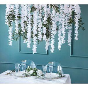 Valkoinen silkkikukkaköynnös, 180 cm.