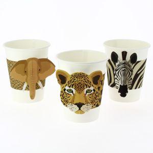 Pahvimukit, Safarin Eläimet, Norsu, Leopardi, Seepra, 6 kpl.