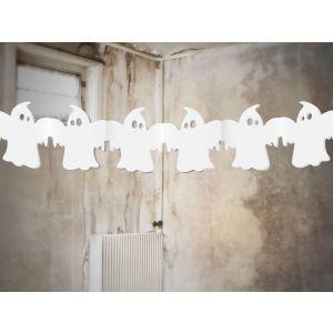 Valkoinen halloween kummitus-viiri, 3 m.