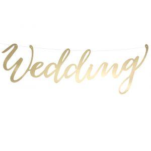 Kultainen banneri tekstillä Wedding.