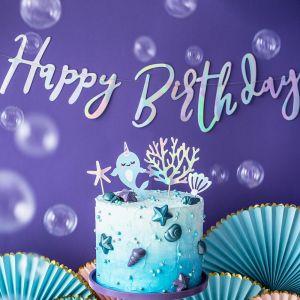 Hohtava iridescent banneri tekstillä Happy Birthday, 62 cm.