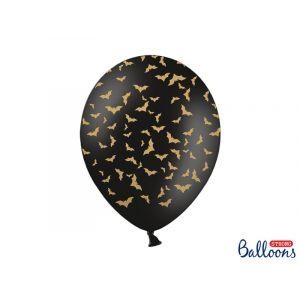 Mustat ilmapallot kultaisilla lepakoilla, 6 kpl. Halloween.