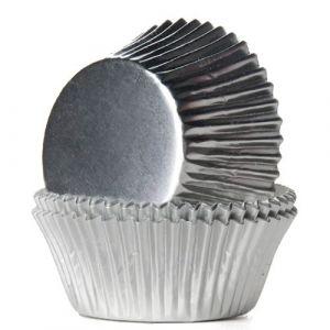 Hopeanväriset säihkyvät folio muffinivuoat, 24 kpl.