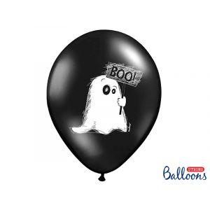 Mustat ilmapallot kummituksella ja toisella puolella kummitustalo, täydelliset halloween juhliin.