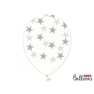 Ilmapallot hopeisilla tähdillä, läpinäkyvät ilmapallot