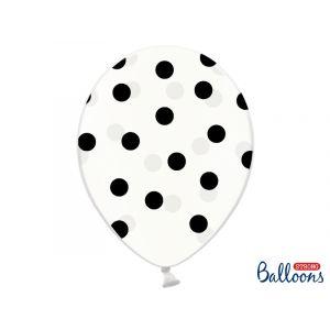Hienot läpinäkyvät ilmapallot mustilla pilkuilla. Pakkaus sisältää 6 kpl ilmapalloa.