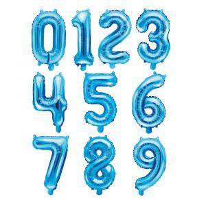 Siniset numerofoliopallot 0-9, 35 cm.