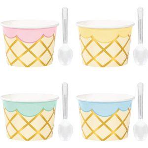 Pastellinväriset pahviset jäätelökupit ja muovilusikat, 8 kpl.