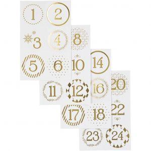 Joulukalenteritarrat -Kulta-valkoiset 1-24