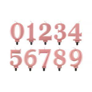 Iso ruusukultainen metallinhohtoinen numerokakkukynttilä.