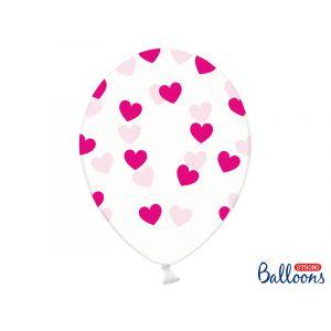 Kirkkaat ilmapallot fuksianvärisillä sydämillä - 30cm, 6kpl