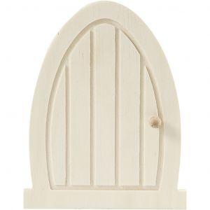 Puinen pieni ovi miniatyyrimaailmaan tai tonttumaailmaan