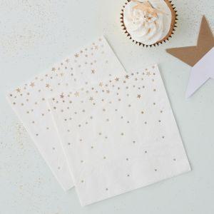 Pienet valkoiset servetit kultaisilla tähdillä, 20kpl
