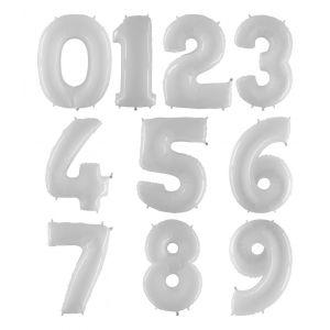 Valkoiset kiiltävät numerofoliopallot 0-9. Valitse haluamasi numeron.