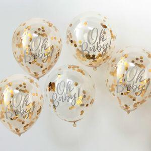 Kulta konfetti ilmapallot Oh Baby-tekstillä