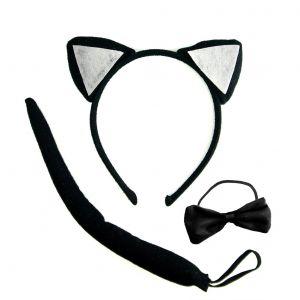 Kissa-naamiaissetti,halloween juhliin. Kissankorvat, rusetti ja häntä.