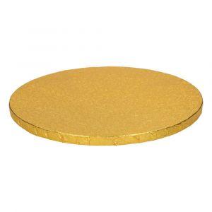 Kauniisti kimalteleva kultainen kakkualusta.