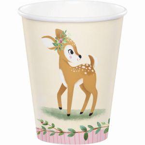 Kertakäyttömukit suloisella bambi kuvalla, 8 kpl.