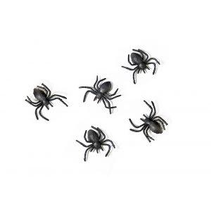 Mustat muoviset hämähäkit, 10 kpl.