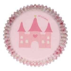 Vaaleanpunaiset muffinssivuoat prinsessa-juhlateemaan, 48 kpl.