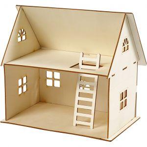 Pieni kaksikerroksinen puinen talo miniatyyrimaailmaan tai tonttumaailmaan