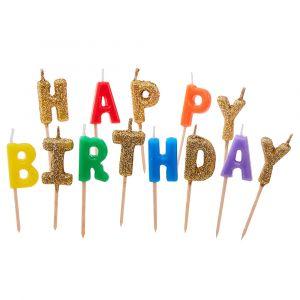 Kakkukynttilät Happy Birthday Rainbow
