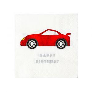 Servetit punaisella autolla ja tekstillä