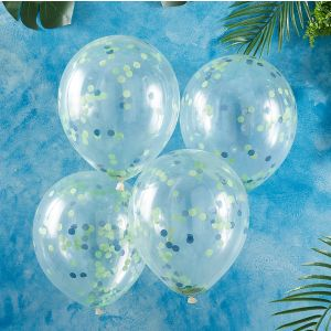 Konfetti-ilmapallot, joissa on siniset ja vihreät konfetit