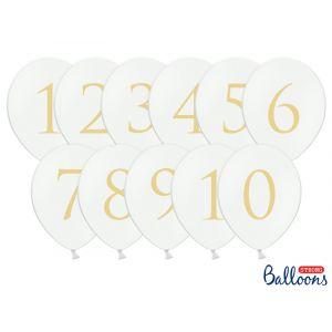 Pöytänumerot ilmapallot valkoiset kultanumerolla