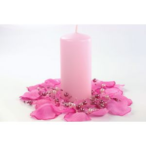 Vaaleanpunainen kynttilä, korkeus 12 cm