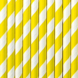 Raidalliset paperipillit keltaiset, 10kpl