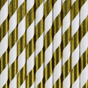 Kulta-valko raidalliset paperipillit.