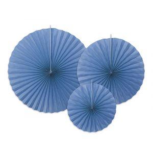 Cornflower-siniset paperiviuhkat, pakkaus sisältää yhteensä 3 kpl.
