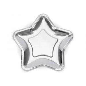Tähti-lautaset - Hopeiset, 23 cm