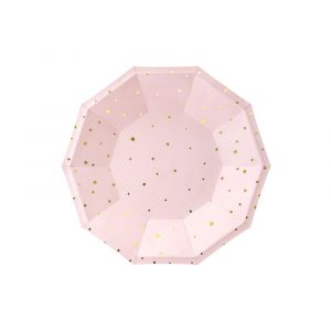 Pahvilautaset vaaleanpunaiset, kultaiset tähdet