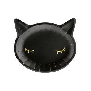 Tyylikkäät mustat kissa-lautaset, 6 kpl.