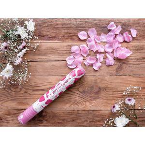 Konfettitykki joka ampuu ilmanpaineella vaaleanpunaisia ruusun terälehtiä!