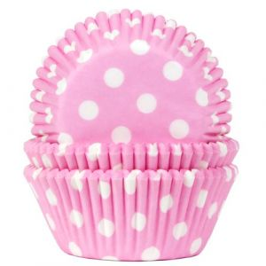 Vaaleanpunaiset muffinssivuoat valkoisilla pilkuilla, 50 kpl.