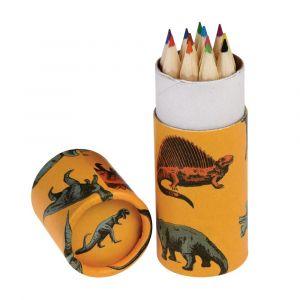 Pienet värikynät suloisessa rasiassa dinokuviolla.