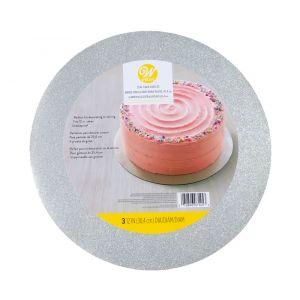 Hopeaglitterillä koristettu Wiltonin kakkualusta. Kakkualusta on pyöreä ja halkaisijaltaan 30 cm.