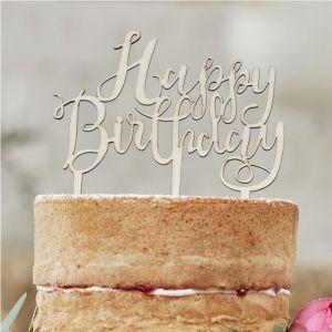 Puinen kakkukoriste, Happy Birthday